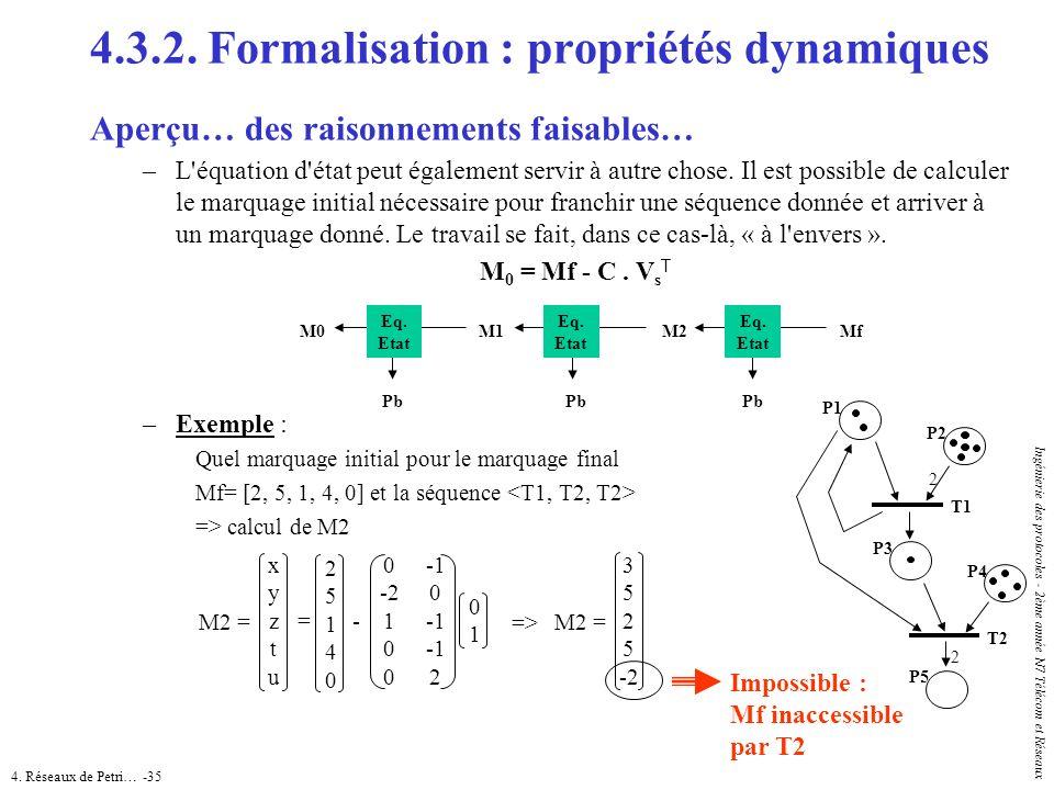 4. Réseaux de Petri… -35 Ingénierie des protocoles - 2ème année N7 Télécom et Réseaux 4.3.2. Formalisation : propriétés dynamiques Aperçu… des raisonn