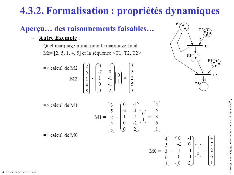 4. Réseaux de Petri… -36 Ingénierie des protocoles - 2ème année N7 Télécom et Réseaux 4.3.2. Formalisation : propriétés dynamiques Aperçu… des raisonn