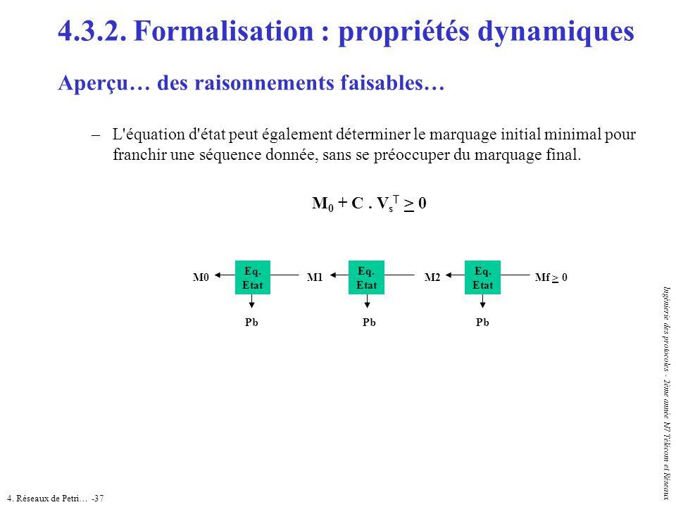 4. Réseaux de Petri… -37 Ingénierie des protocoles - 2ème année N7 Télécom et Réseaux 4.3.2. Formalisation : propriétés dynamiques Aperçu… des raisonn