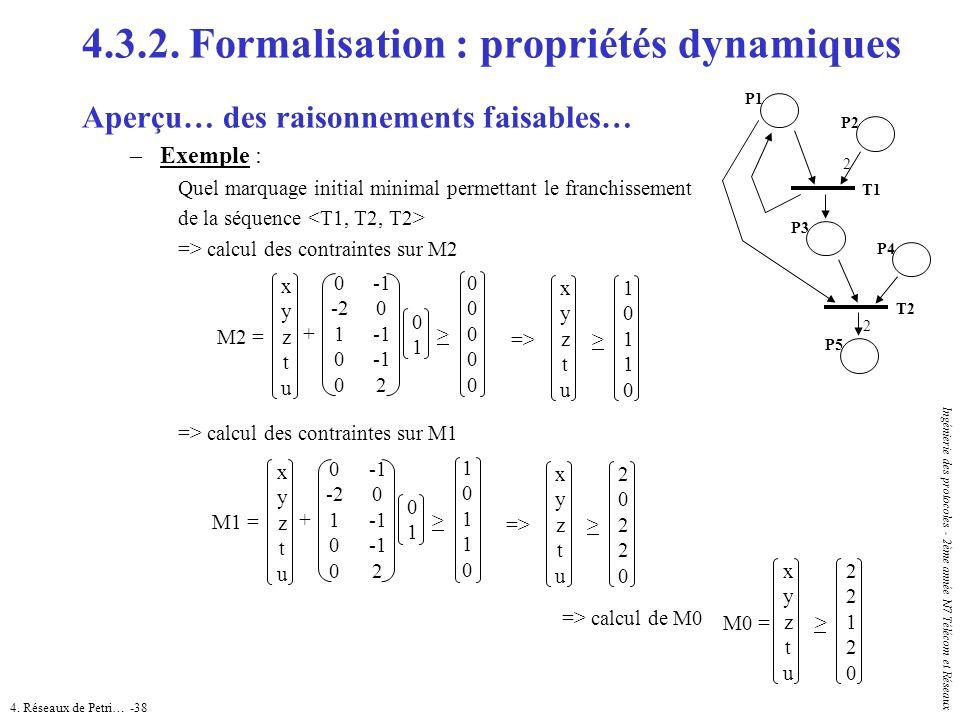 4. Réseaux de Petri… -38 Ingénierie des protocoles - 2ème année N7 Télécom et Réseaux 4.3.2. Formalisation : propriétés dynamiques Aperçu… des raisonn
