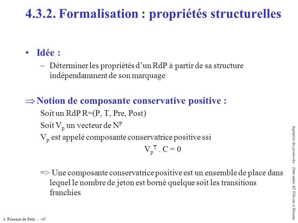 4. Réseaux de Petri… -45 Ingénierie des protocoles - 2ème année N7 Télécom et Réseaux Idée : –Déterminer les propriétés dun RdP à partir de sa structu