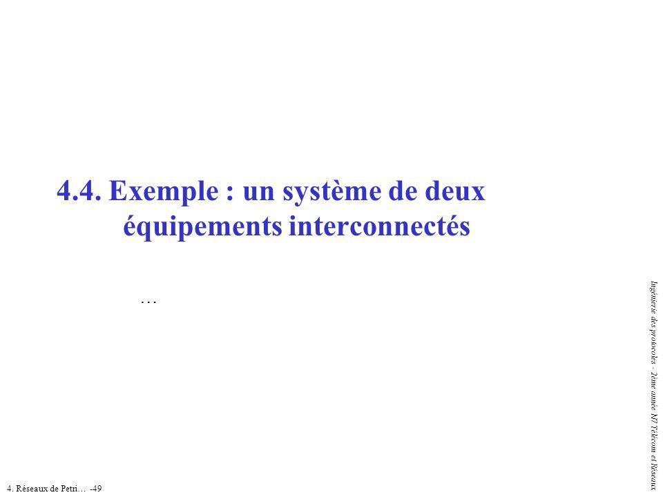 4. Réseaux de Petri… -49 Ingénierie des protocoles - 2ème année N7 Télécom et Réseaux 4.4. Exemple : un systèmede deux équipements interconnectés …