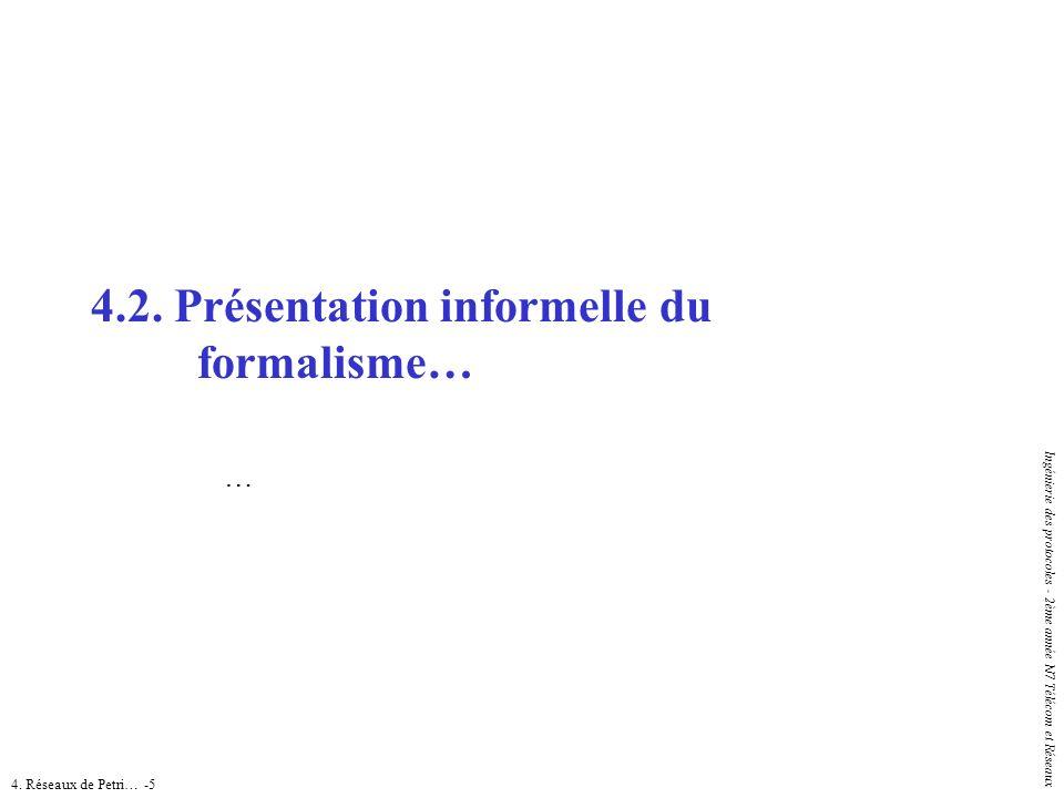 4. Réseaux de Petri… -5 Ingénierie des protocoles - 2ème année N7 Télécom et Réseaux 4.2. Présentation informelle du formalisme… …
