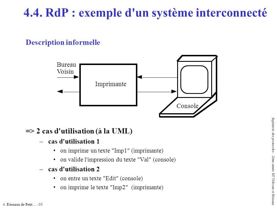 4. Réseaux de Petri… -50 Ingénierie des protocoles - 2ème année N7 Télécom et Réseaux 4.4. RdP : exemple d'un système interconnecté Description inform