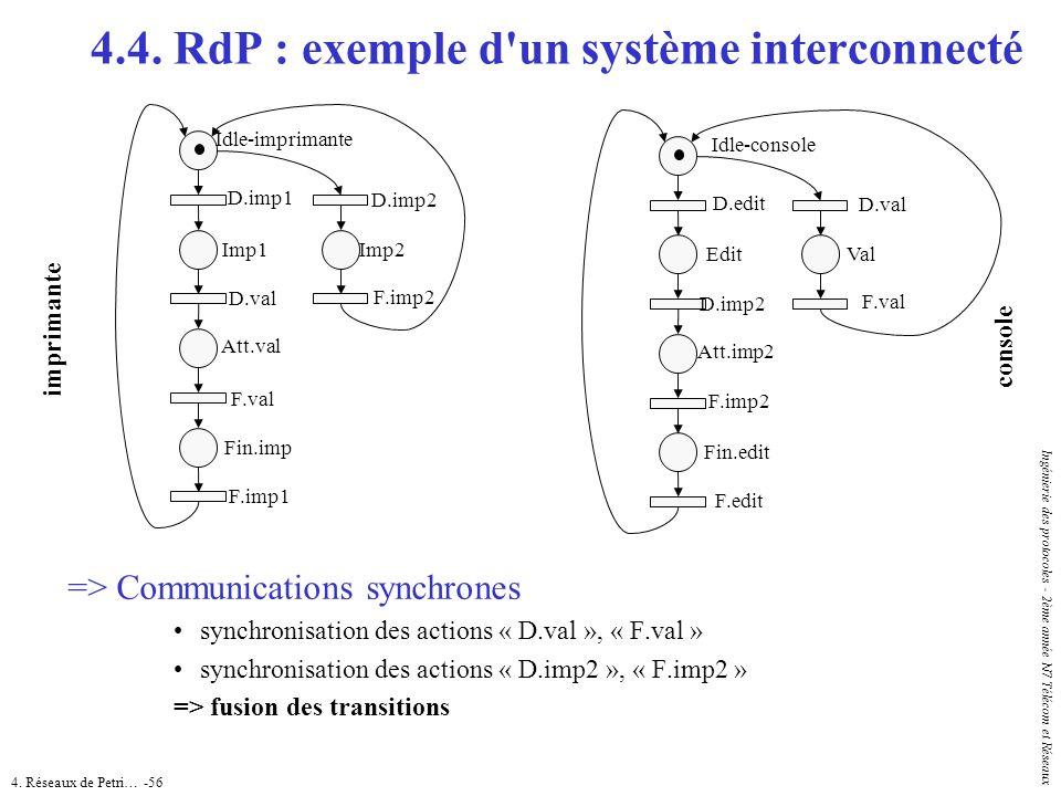 4. Réseaux de Petri… -56 Ingénierie des protocoles - 2ème année N7 Télécom et Réseaux => Communications synchrones synchronisation des actions « D.val