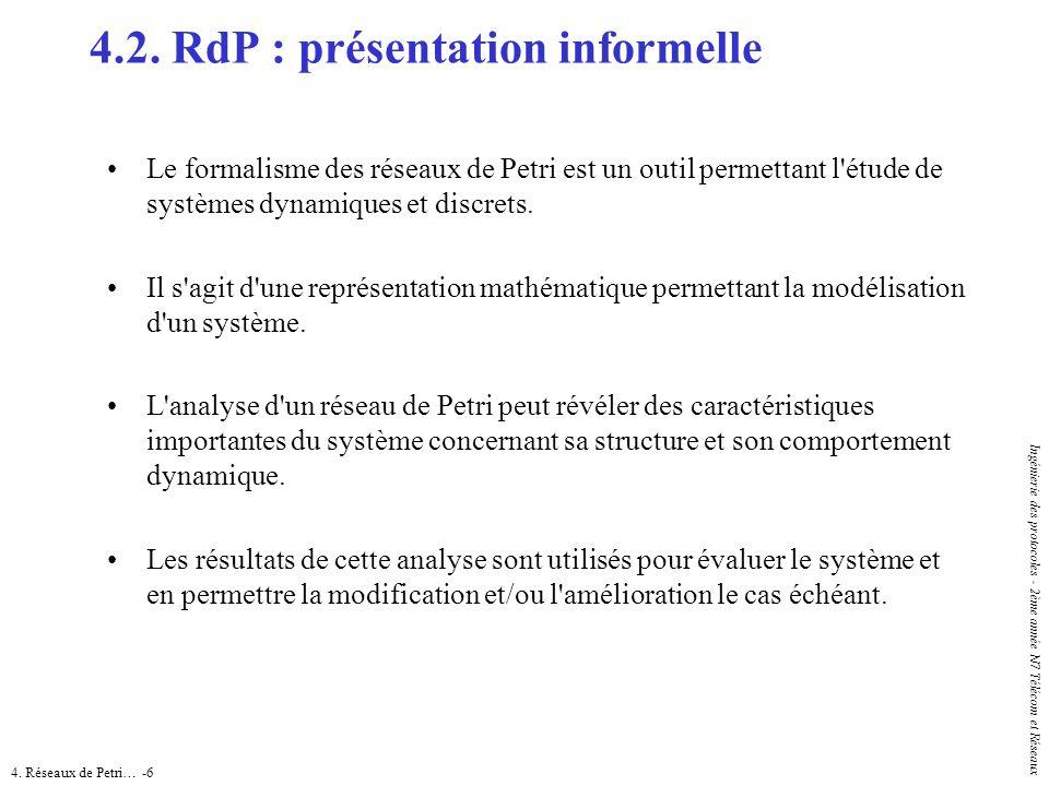 4. Réseaux de Petri… -6 Ingénierie des protocoles - 2ème année N7 Télécom et Réseaux Le formalisme des réseaux de Petri est un outil permettant l'étud