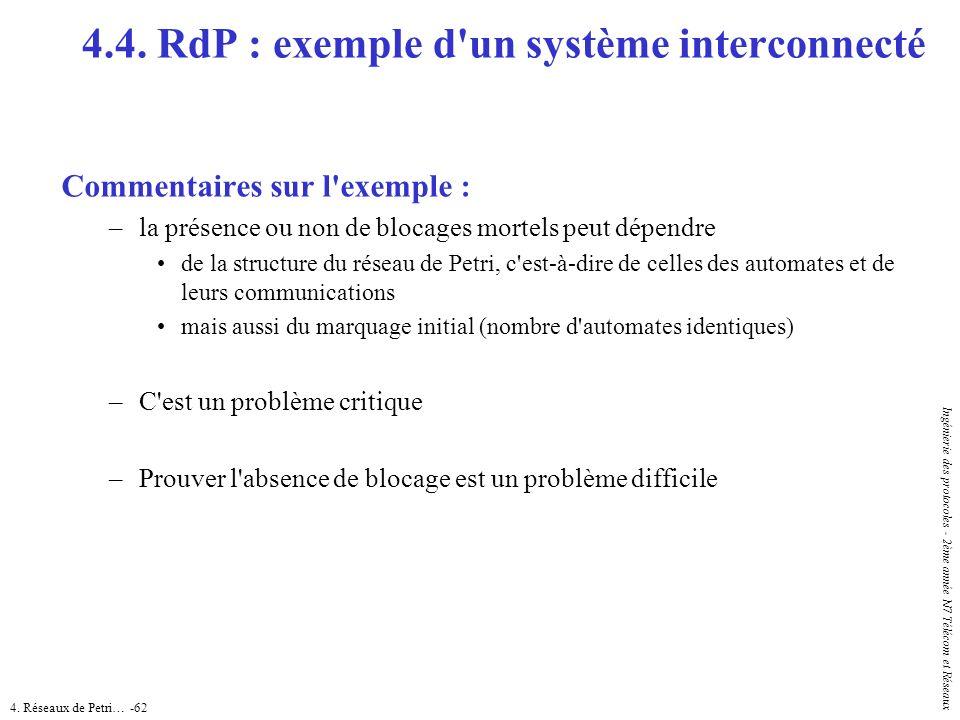 4. Réseaux de Petri… -62 Ingénierie des protocoles - 2ème année N7 Télécom et Réseaux Commentaires sur l'exemple : –la présence ou non de blocages mor