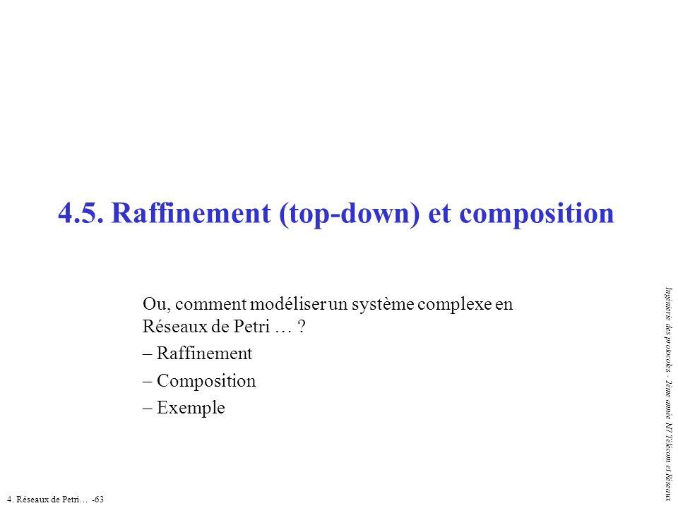 4. Réseaux de Petri… -63 Ingénierie des protocoles - 2ème année N7 Télécom et Réseaux 4.5. Raffinement (top-down) et composition Ou, comment modéliser
