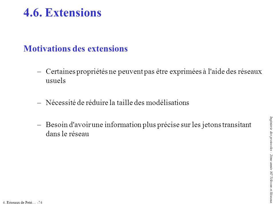 4. Réseaux de Petri… -74 Ingénierie des protocoles - 2ème année N7 Télécom et Réseaux 4.6. Extensions Motivations des extensions –Certaines propriétés