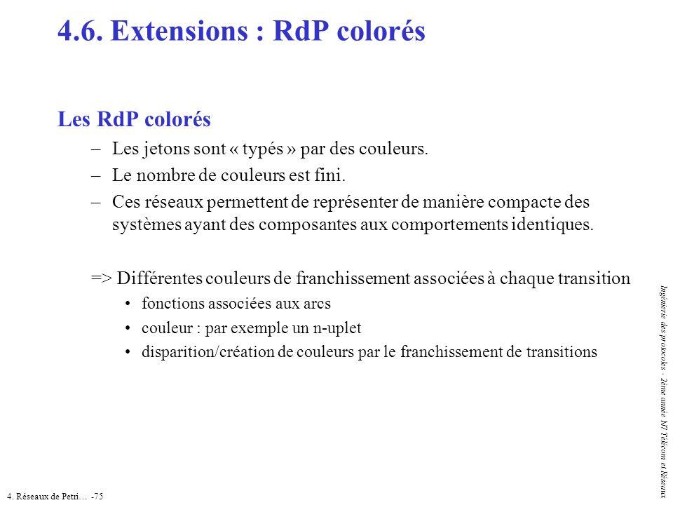 4. Réseaux de Petri… -75 Ingénierie des protocoles - 2ème année N7 Télécom et Réseaux 4.6. Extensions : RdP colorés Les RdP colorés –Les jetons sont «