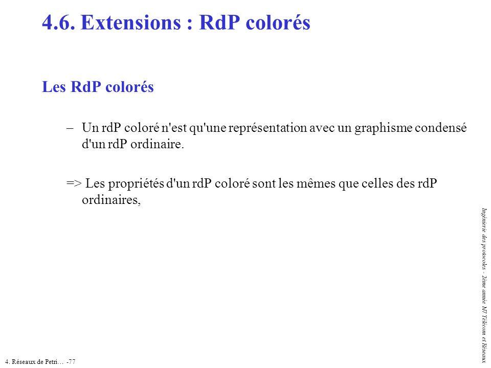 4. Réseaux de Petri… -77 Ingénierie des protocoles - 2ème année N7 Télécom et Réseaux 4.6. Extensions : RdP colorés Les RdP colorés –Un rdP coloré n'e