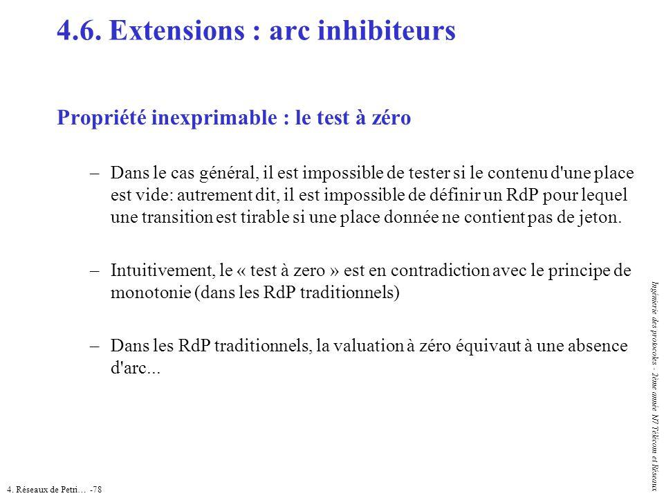 4. Réseaux de Petri… -78 Ingénierie des protocoles - 2ème année N7 Télécom et Réseaux 4.6. Extensions : arc inhibiteurs Propriété inexprimable : le te