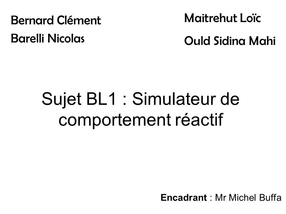 Sujet BL1 : Simulateur de comportement réactif Bernard Clément Barelli Nicolas Maitrehut Loïc Ould Sidina Mahi Encadrant : Mr Michel Buffa
