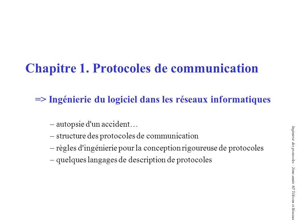 Ingénierie des protocoles - 2ème année N7 Télécom et Réseaux Préambule Un protocole est un ensemble de règles qui gouvernent l interaction entre processus parallèles dans les systèmes distribués La conception de protocoles n est pas une discipline à part, elle est liée à la fois aux réseaux et à l ingénierie des systèmes Décrire complètement et sans ambiguïté un protocole est difficile Prouver qu un protocole est correct est une tâche encore plus ardue => Le but du cours n est pas d enseigner de nouveaux protocoles, mais de montrer comment on peut (bien) les décrire (cf.