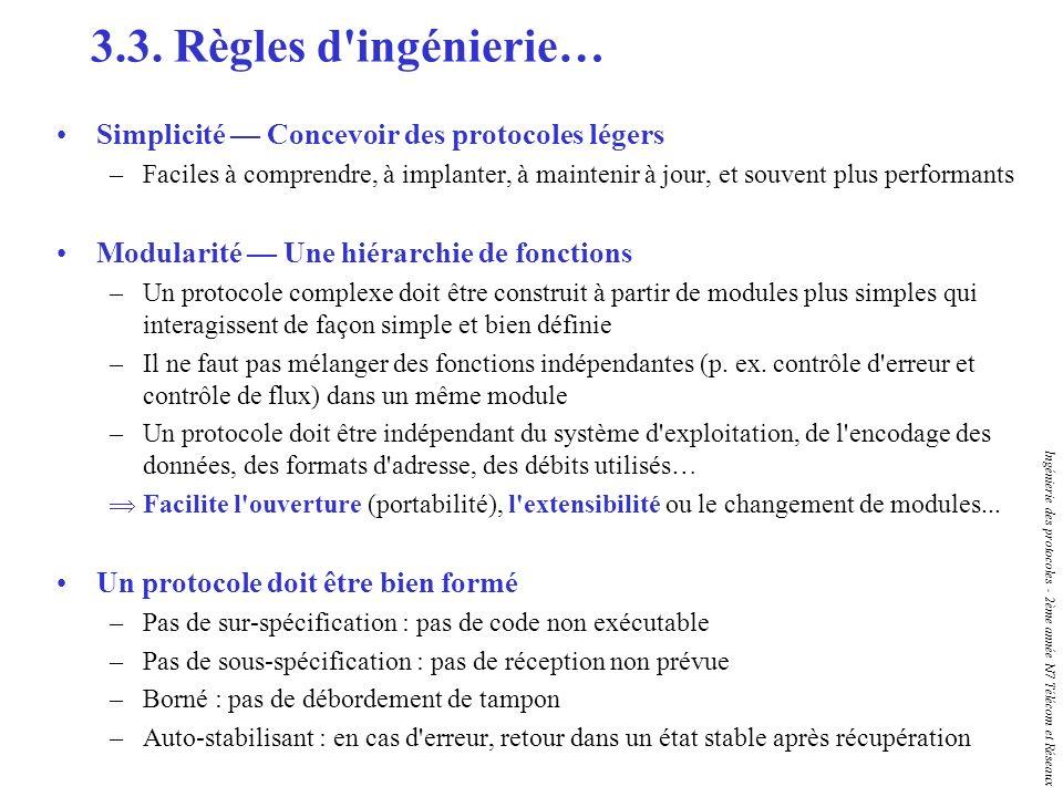 Ingénierie des protocoles - 2ème année N7 Télécom et Réseaux 3.3. Règles d'ingénierie… Simplicité Concevoir des protocoles légers –Faciles à comprendr