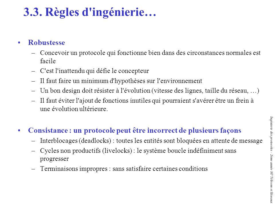 Ingénierie des protocoles - 2ème année N7 Télécom et Réseaux 3.3. Règles d'ingénierie… Robustesse –Concevoir un protocole qui fonctionne bien dans des