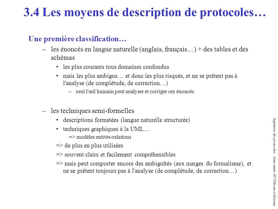 Ingénierie des protocoles - 2ème année N7 Télécom et Réseaux Une première classification… –les énoncés en langue naturelle (anglais, français…) + des