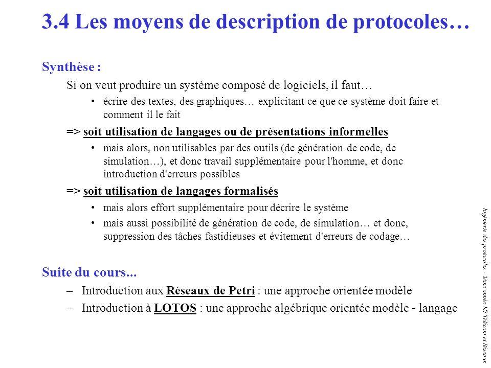 Ingénierie des protocoles - 2ème année N7 Télécom et Réseaux Synthèse : Si on veut produire un système composé de logiciels, il faut… écrire des texte