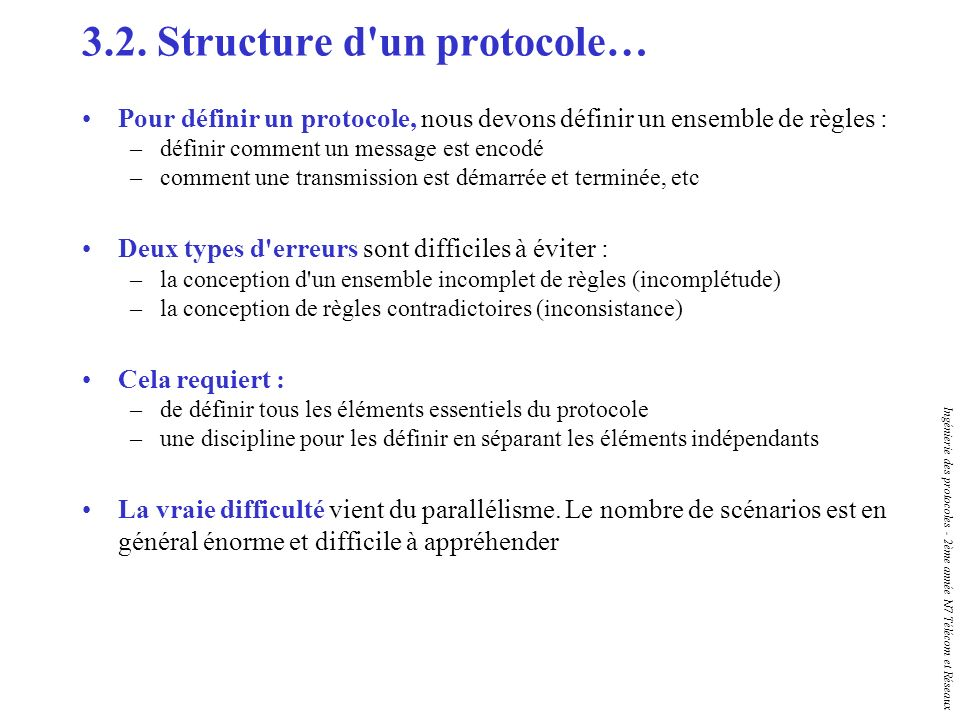 Ingénierie des protocoles - 2ème année N7 Télécom et Réseaux 3.2. Structure d'un protocole… Pour définir un protocole, nous devons définir un ensemble