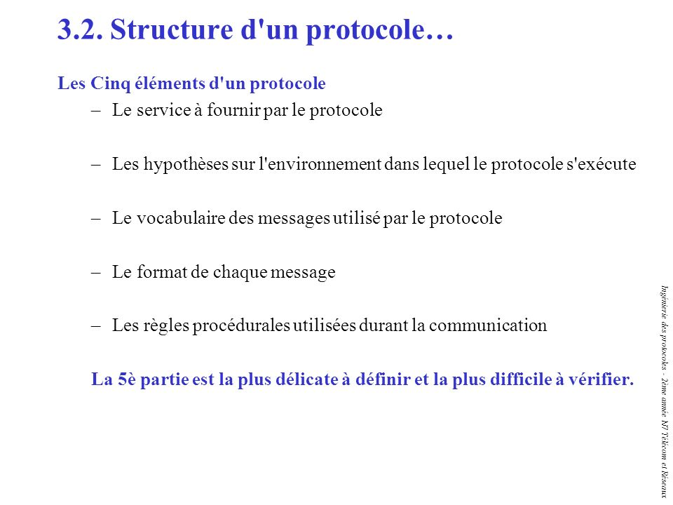 Ingénierie des protocoles - 2ème année N7 Télécom et Réseaux 3.2. Structure d'un protocole… Les Cinq éléments d'un protocole –Le service à fournir par