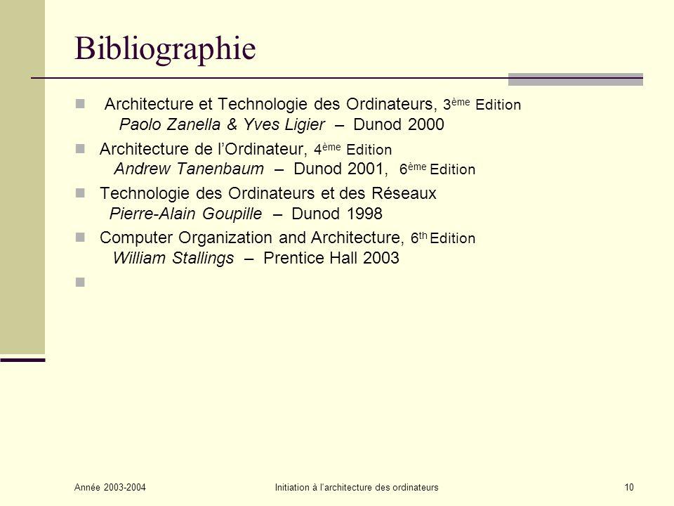 Année 2003-2004Initiation à l'architecture des ordinateurs10 Bibliographie Architecture et Technologie des Ordinateurs, 3 ème Edition Paolo Zanella &