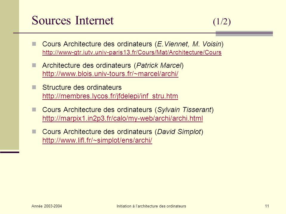 Année 2003-2004Initiation à l'architecture des ordinateurs11 Sources Internet (1/2) Cours Architecture des ordinateurs (E.Viennet, M. Voisin) http://w