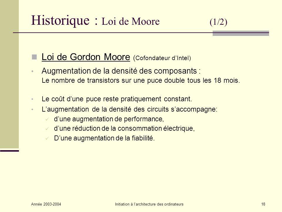 Année 2003-2004Initiation à l'architecture des ordinateurs18 Historique : Loi de Moore (1/2) Loi de Gordon Moore ( Cofondateur dIntel) Augmentation de