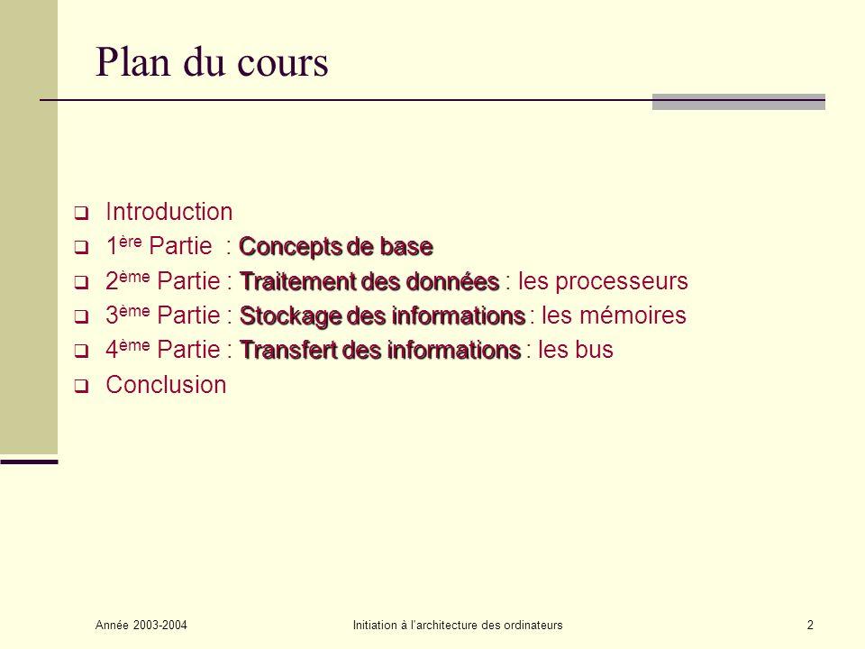 Année 2003-2004Initiation à l'architecture des ordinateurs2 Plan du cours Introduction Concepts de base 1 ère Partie : Concepts de base Traitement des