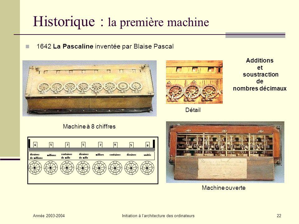 Année 2003-2004Initiation à l'architecture des ordinateurs22 Historique : la première machine 1642 La Pascaline inventée par Blaise Pascal Additions e