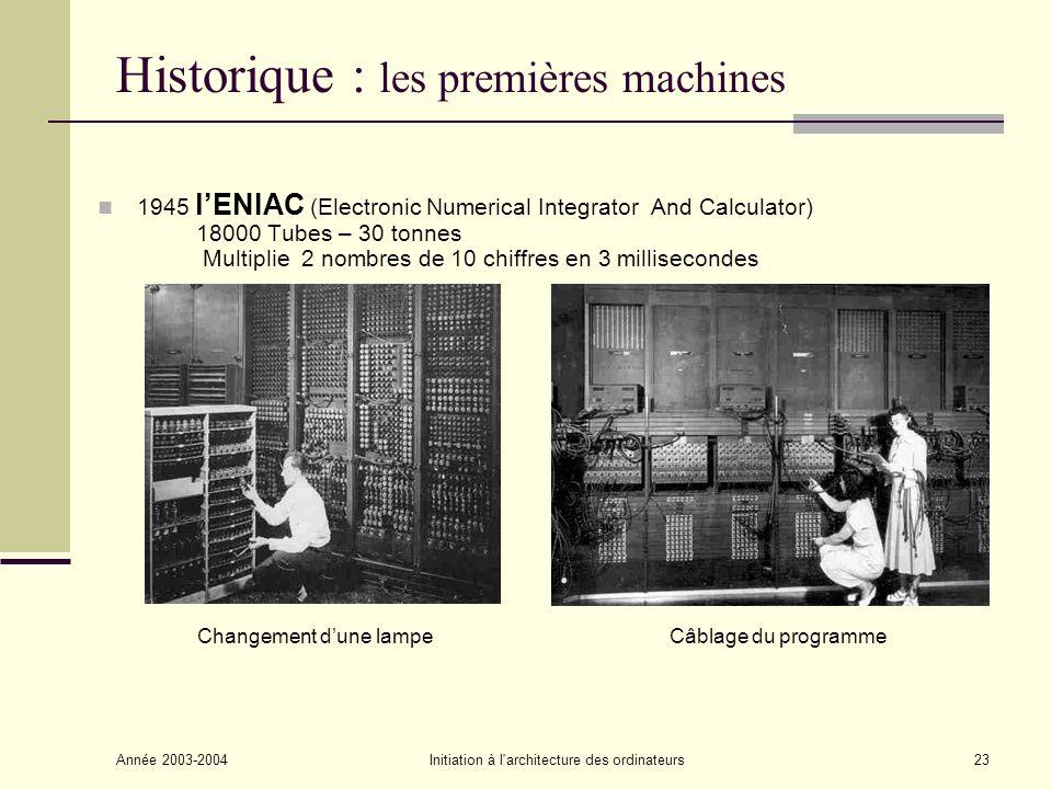 Année 2003-2004Initiation à l'architecture des ordinateurs23 Historique : les premières machines 1945 lENIAC (Electronic Numerical Integrator And Calc