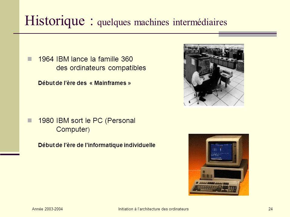 Année 2003-2004Initiation à l'architecture des ordinateurs24 Historique : quelques machines intermédiaires 1964 IBM lance la famille 360 des ordinateu