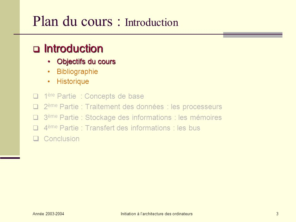 Année 2003-2004Initiation à l'architecture des ordinateurs3 Plan du cours : Introduction Introduction Introduction Objectifs du coursObjectifs du cour