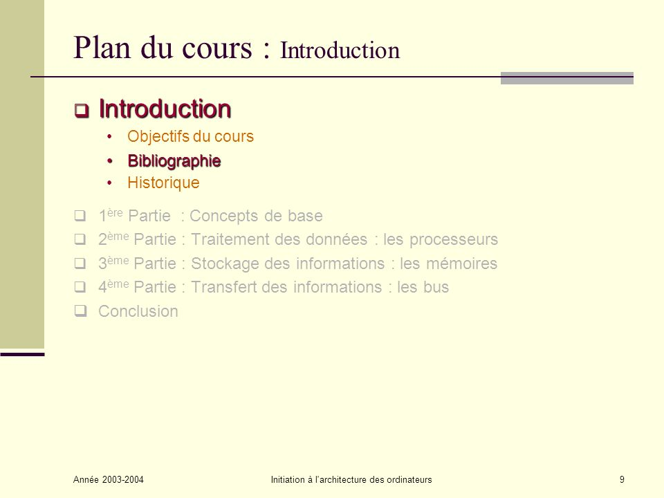 Année 2003-2004Initiation à l'architecture des ordinateurs9 Plan du cours : Introduction Introduction Introduction Objectifs du cours BibliographieBib
