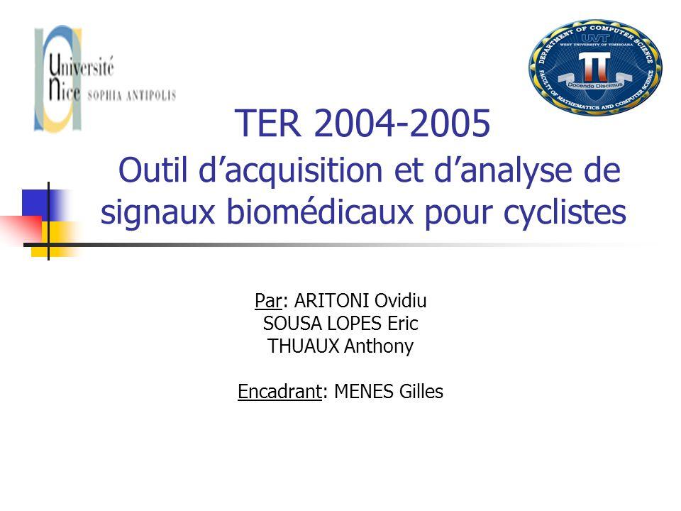 TER 2004-2005 Outil dacquisition et danalyse de signaux biomédicaux pour cyclistes Par: ARITONI Ovidiu SOUSA LOPES Eric THUAUX Anthony Encadrant: MENE