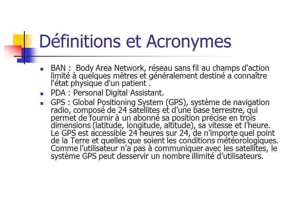 Définitions et Acronymes BAN : Body Area Network, réseau sans fil au champs d action limité à quelques mètres et généralement destiné a connaître l état physique d un patient.