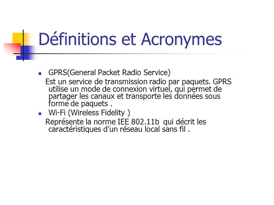 GPRS(General Packet Radio Service) Est un service de transmission radio par paquets.