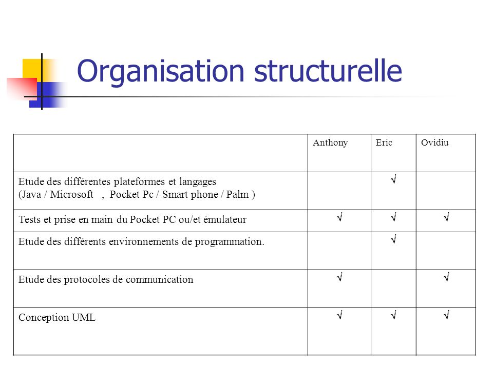 Organisation structurelle AnthonyEricOvidiu Etude des différentes plateformes et langages (Java / Microsoft, Pocket Pc / Smart phone / Palm ) Tests et