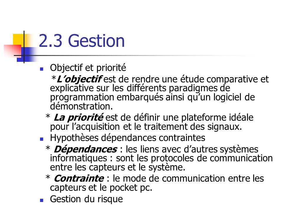 2.3 Gestion Objectif et priorité *Lobjectif est de rendre une étude comparative et explicative sur les différents paradigmes de programmation embarqués ainsi quun logiciel de démonstration.