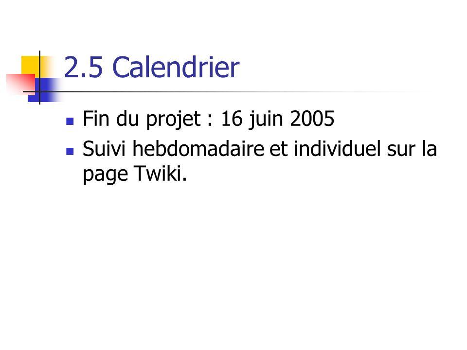 2.5 Calendrier Fin du projet : 16 juin 2005 Suivi hebdomadaire et individuel sur la page Twiki.