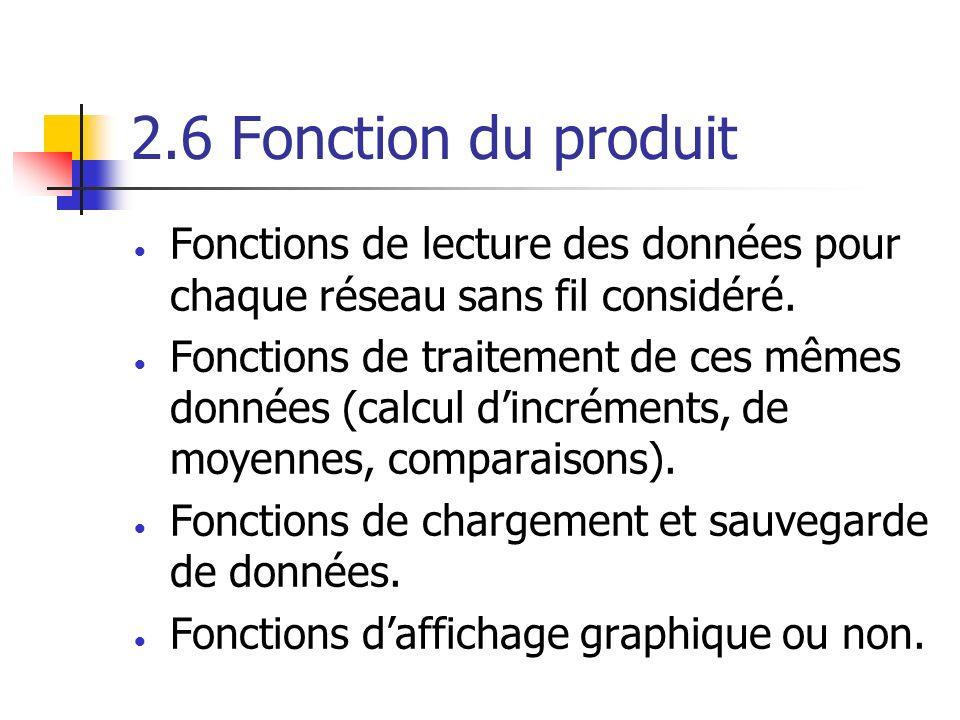 2.6 Fonction du produit Fonctions de lecture des données pour chaque réseau sans fil considéré. Fonctions de traitement de ces mêmes données (calcul d