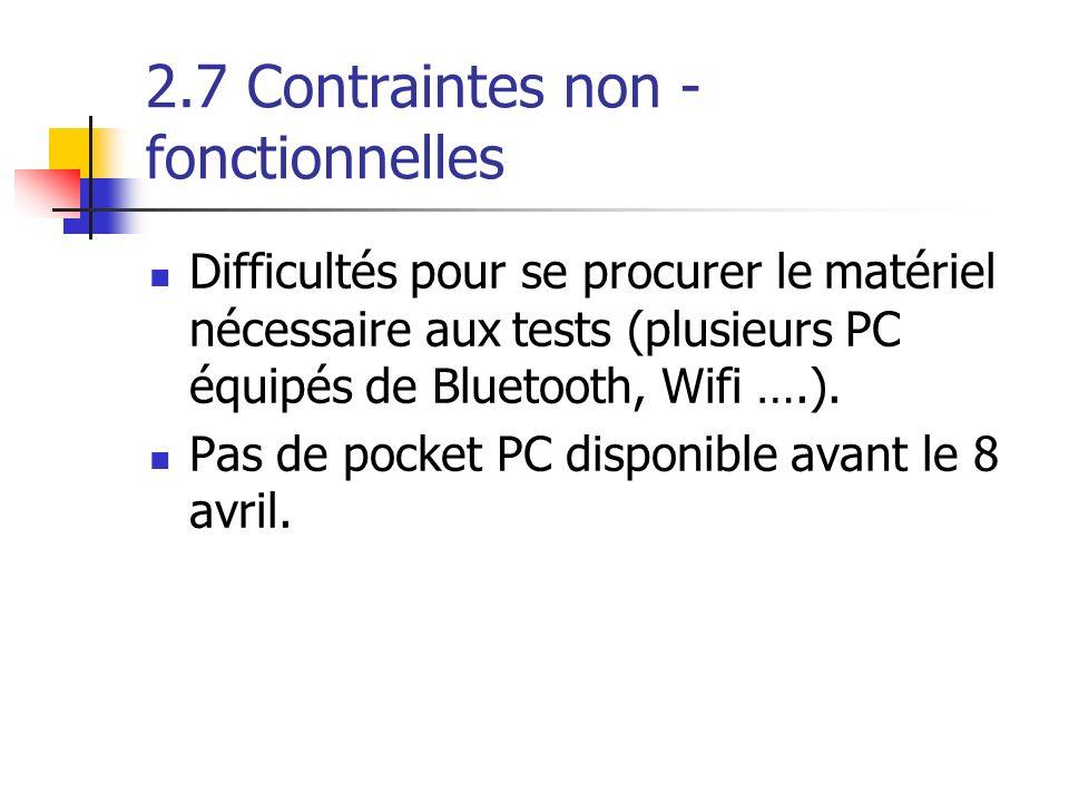 2.7 Contraintes non - fonctionnelles Difficultés pour se procurer le matériel nécessaire aux tests (plusieurs PC équipés de Bluetooth, Wifi ….). Pas d