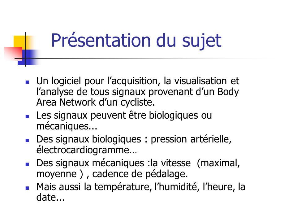 Un logiciel pour lacquisition, la visualisation et lanalyse de tous signaux provenant dun Body Area Network dun cycliste.