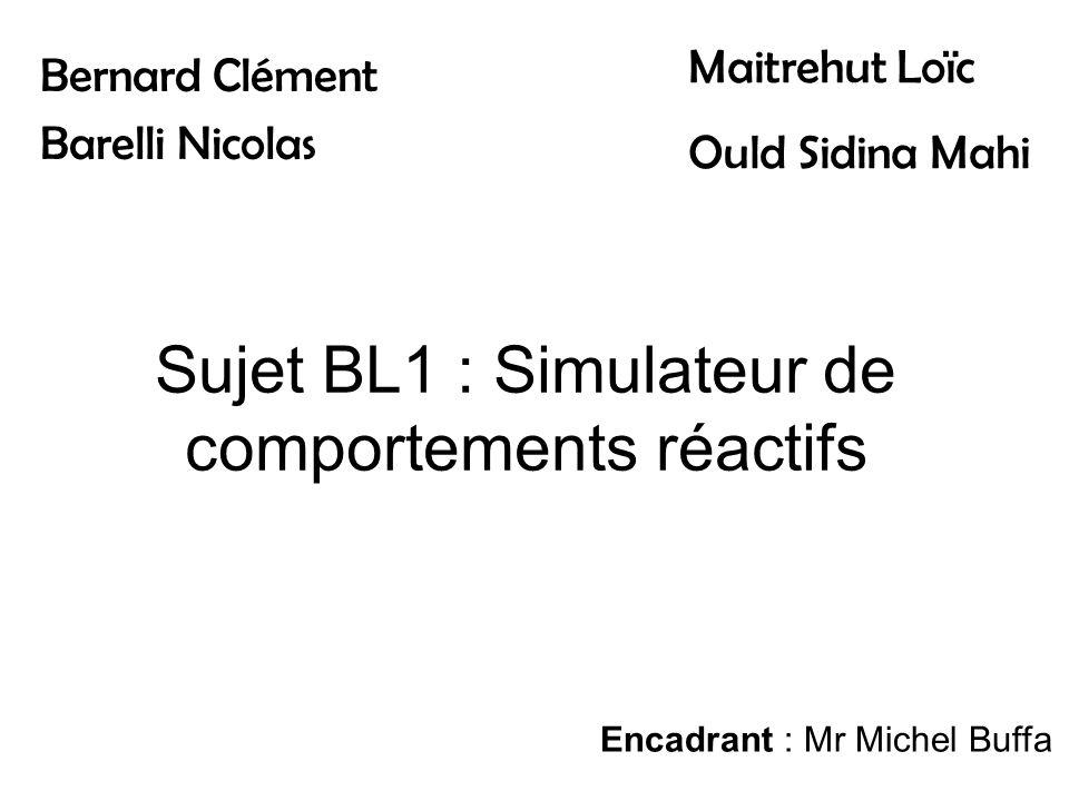 Sujet BL1 : Simulateur de comportements réactifs Bernard Clément Barelli Nicolas Maitrehut Loïc Ould Sidina Mahi Encadrant : Mr Michel Buffa