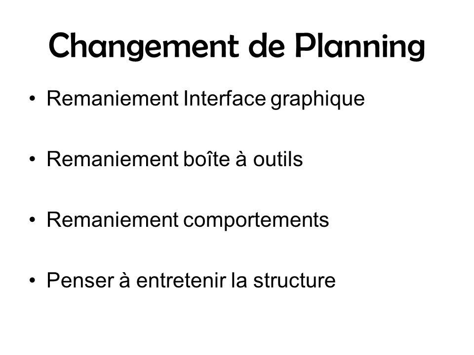 Changement de Planning Remaniement Interface graphique Remaniement boîte à outils Remaniement comportements Penser à entretenir la structure