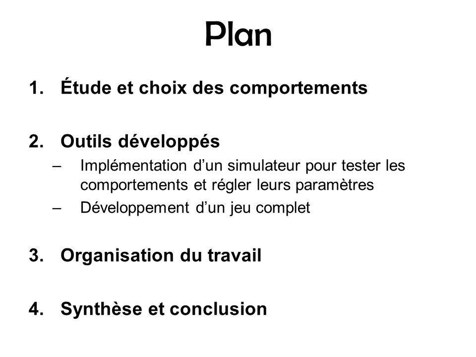 Plan 1.Étude et choix des comportements 2.Outils développés –Implémentation dun simulateur pour tester les comportements et régler leurs paramètres –D