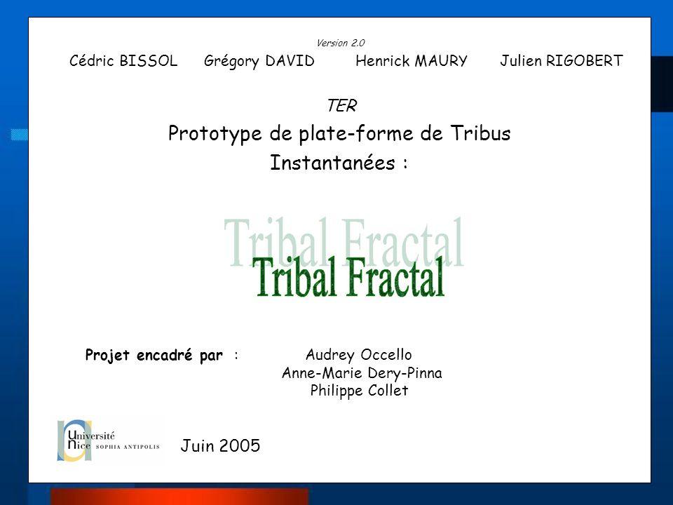 Version 2.0 Cédric BISSOL Grégory DAVID Henrick MAURY Julien RIGOBERT TER Prototype de plate-forme de Tribus Instantanées : Projet encadré par : Audre