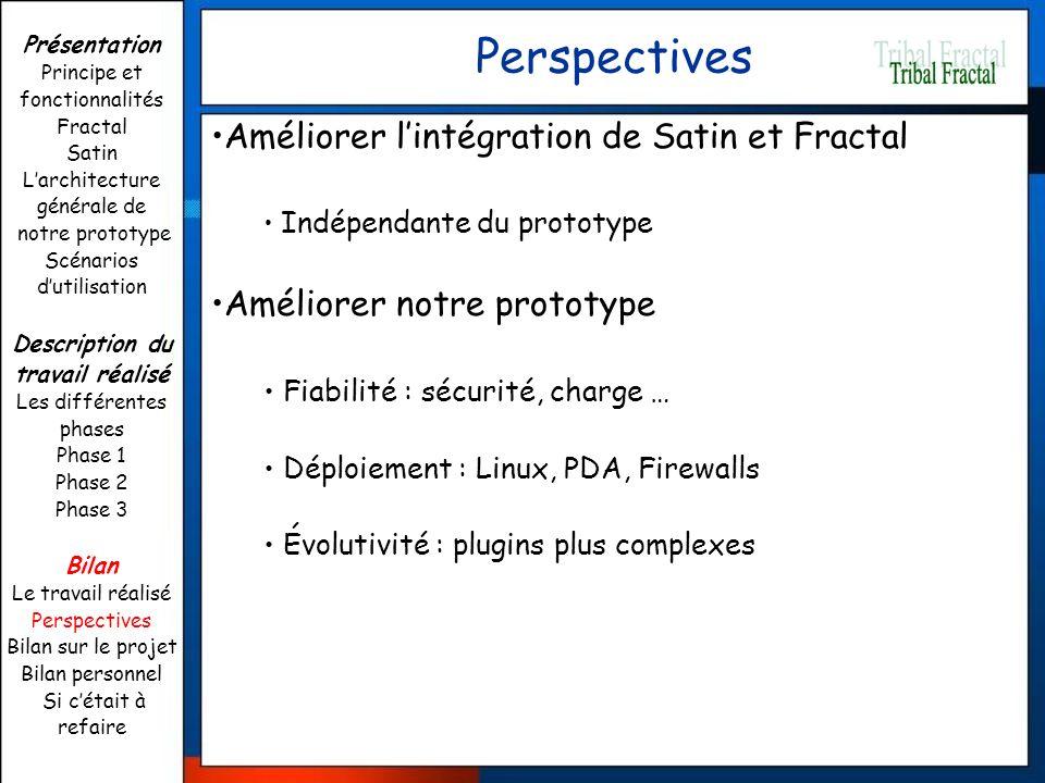 Perspectives Améliorer lintégration de Satin et Fractal Indépendante du prototype Améliorer notre prototype Fiabilité : sécurité, charge … Déploiement