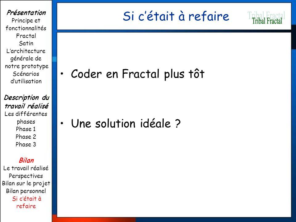Si cétait à refaire Coder en Fractal plus tôt Une solution idéale ? Présentation Principe et fonctionnalités Fractal Satin Larchitecture générale de n