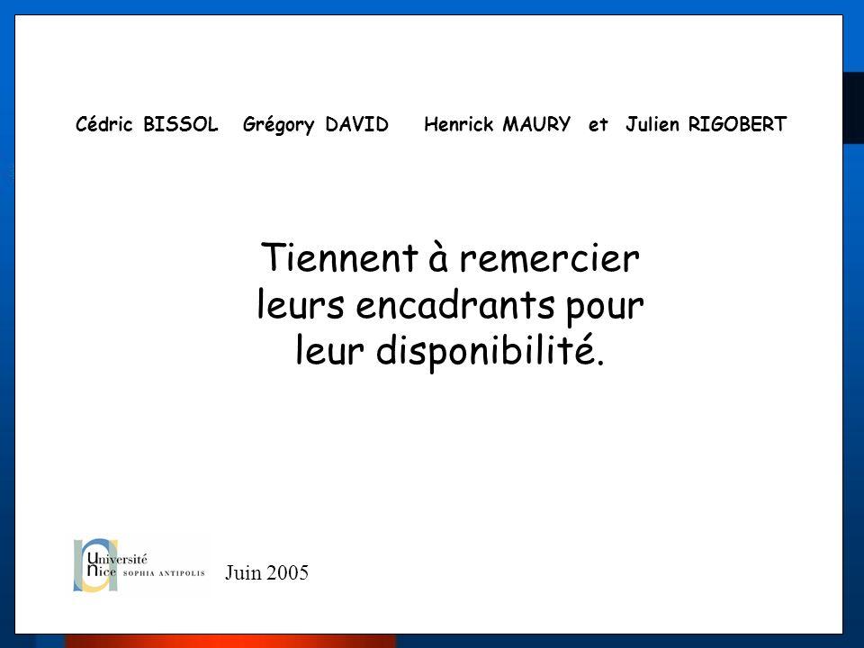 Cédric BISSOL Grégory DAVID Henrick MAURY et Julien RIGOBERT Tiennent à remercier leurs encadrants pour leur disponibilité. Juin 2005