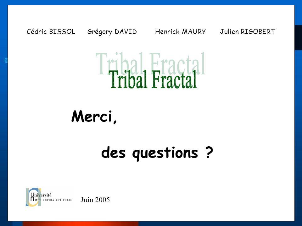 Cédric BISSOL Grégory DAVID Henrick MAURY Julien RIGOBERT Merci, des questions ? Juin 2005